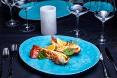 Coda di aragosta in salsa del acero-tartufo Immagini Stock