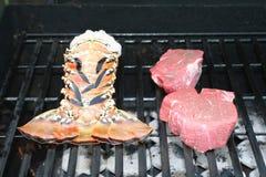 Coda e bistecca di aragosta Immagini Stock