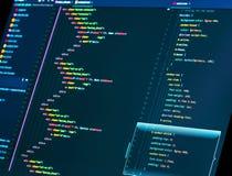 Codagehtml en css in de redacteur, sluiten omhoog Web of toepassingsontwikkeling Websiteontwerp stock afbeeldingen
