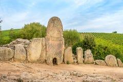 Coddu Vecchiu - Giants grave near the nuraghe Prisgiona Stock Images