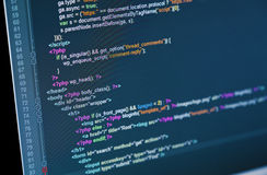 Code. Of web page displayed on a computer monitor Stock Photography