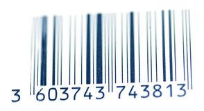 Code barres bleu pour la traçabilité Photographie stock libre de droits