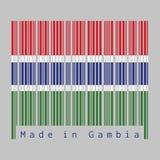 Code barres a placé la couleur du drapeau de la Gambie, la couleur bleue et verte rouge et a séparé par une bande étroite de blan illustration de vecteur