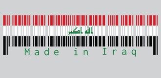 """Code barres a placé la couleur du drapeau de l'Irak, blanc rouge et la couleur noire avec l'""""God est le plus grand ` en vert, t illustration de vecteur"""