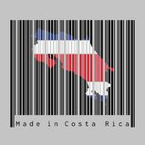 Code barres a placé la forme au contour de carte de Costa Rica et à la couleur du drapeau de Costa Rica sur code barres noir avec illustration libre de droits