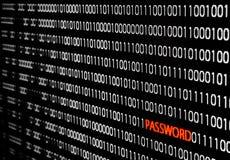 Code binaire avec le vol de mot de passe Photographie stock libre de droits