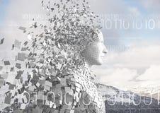 Code binaire blanc contre le mâle blanc AI et les dessus neigeux de montagne Photo stock
