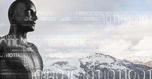 Code binaire blanc contre le mâle noir AI et les dessus neigeux de montagne Photos libres de droits
