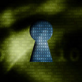 Code binaire de déchiffrage par des clés Photographie stock