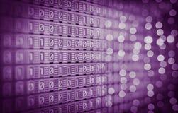1-0 code binaire de Digital, lampes analogues, écran Photographie stock