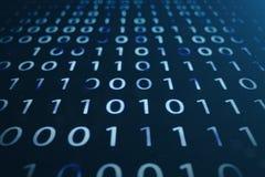 code binaire de l'illustration 3D sur le fond bleu Octets de code binaire Technologie de concept Fond binaire de Digitals illustration libre de droits