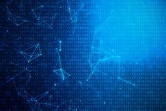 code binaire de l'illustration 3D sur le fond bleu Octets de code binaire Technologie de concept Fond binaire de Digitals illustration stock