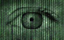 Code binaire de programme de Matrix avec le fond d'oeil humain Photographie stock libre de droits
