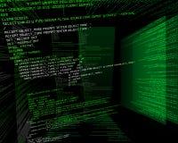 Code binaire en vert sur TFT dans 3d Photos stock
