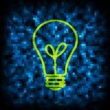 Code binaire et icône d'ampoule Photos stock