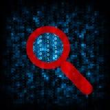 Code binaire et icône de loupe Images libres de droits
