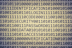 Code binaire et peu de mots Photos stock