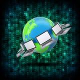 Code binaire et terre avec des ordinateurs portables Photo libre de droits