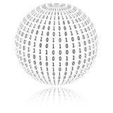 Code binaire sous la forme de sphère Photographie stock