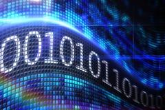 Code binaire sur l'écran numérique Image stock