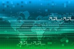 Code binaire sur la carte du monde Photos libres de droits