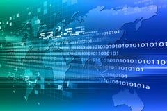 Code binaire sur la carte du monde Image stock