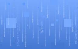 Code binaire tombant sur le bleu Images stock
