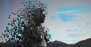 Code bleu contre la femelle noire AI et les dessus et le ciel de montagne Photos libres de droits