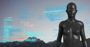 Code bleu contre la femelle noire AI et les dessus et le ciel de montagne Photos stock