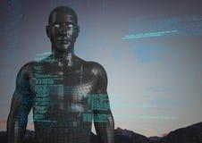 Code bleu contre le mâle noir AI et les dessus et le ciel de montagne Photos stock