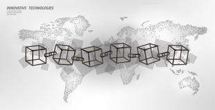 Code carr? de symbole de cha?ne de cube en Blockchain ?coulement international de grandes donn?es Carte blanche de la terre de pl illustration libre de droits