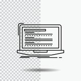Code, coding, computer, monoblock, laptop Line Icon on Transparent Background. Black Icon Vector Illustration royalty free illustration
