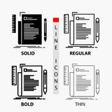 Code, coding, file, programming, script Icon in Thin, Regular, Bold Line and Glyph Style. Vector illustration. Vector EPS10 Abstract Template background royalty free illustration