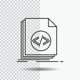 Code, coding, file, programming, script Line Icon on Transparent Background. Black Icon Vector Illustration. Vector EPS10 Abstract Template background vector illustration
