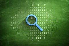 Code 0 1 01 concept with magnifying glass 3d illustration royalty free stock image