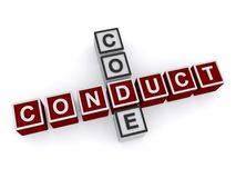 Code of Conduct. A crossword of the words code and conduct, code of conduct concept Stock Photos