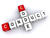 Code of Conduct. An illustration of the code of conduct with letter blocks on white background forming the words royalty free illustration