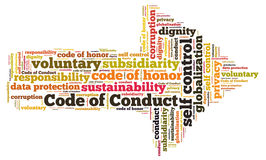 Code of conduct. Word cloud vector illustration