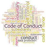 Code of conduct. Word cloud stock illustration