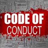 Code of conduct word cloud. Creative illustration of idea word lettering typography . 3D rendering vector illustration