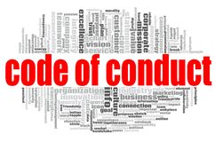 Code of conduct word cloud. Concept on white background, 3d rendering stock illustration