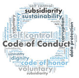 Code of conduct. Word cloud shaped as a sign Royalty Free Stock Photography