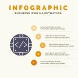 Code, coutume, exécution, gestion, fond solide de présentation d'étapes d'Infographics 5 d'icône de produit illustration libre de droits