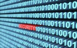 code 3d binaire dans le bleu une sécurité de mot en rouge avec la profondeur du champ Photographie stock