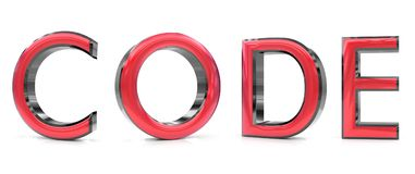 Code 3d word. The code word 3d rendered red and gray metallic color , isolated on white background Royalty Free Stock Image