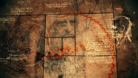 Code Da Vinci, Genius and Golden Spiral. A vintage 3d illustration of code Da Vinci with the sacred texts, the portrait of the bearded genius, a human head, a royalty free illustration