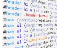 Code de CSS et de HTML Images stock