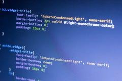 Code de développement de Web : CSS/LESS dénomme des lignes de manuscrit de préprocesseur images libres de droits
