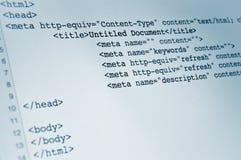 Code de HTML Photographie stock