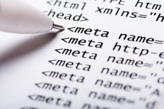 Code de HTML Photo libre de droits